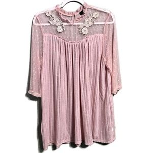 Suzanne Betro Sheer Lace Embroidered Blouse 1X